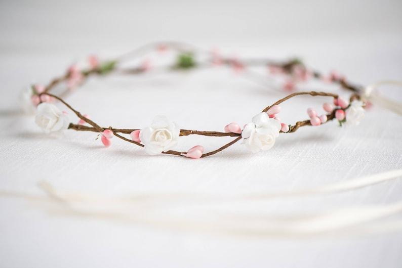 Bridal Headpiece Flower Crown Wreath Christmas Flower Crown Bridal Halo Headpiece Natural Wedding Hair Wreath Style: AVERY