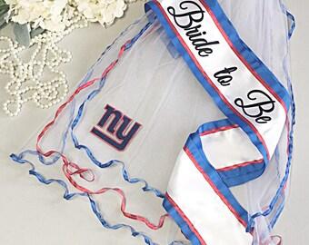 New York Giants Bachelorette Sash and Bachelorette Veil