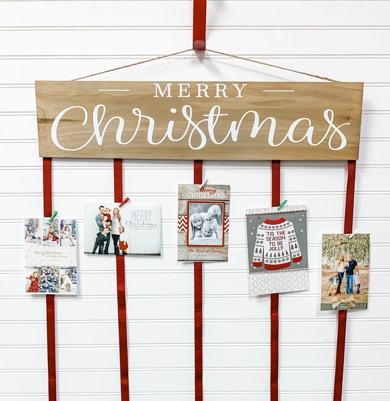 Merry Christmas Card Holder Christmas Card Display Etsy