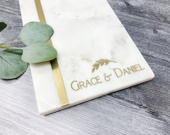 Personalized Cutting Board -Bridal Shower - Custom Marble Charcuterie Board - Gift for Couple - Housewarming Gift -  GOLD STRIPE