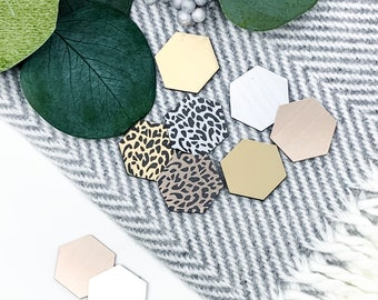 Leopard Magnets - Hexagon Magnets - Cheetah Magnets  - Rose gold Magnets - Refrigerator Magnets - Stocking Stuffer - BRUSHED METAL