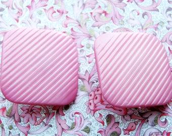 Original vintage pink square clip-ons