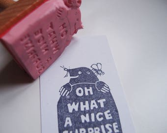 """stamp """"Oh what a nice surprise"""" mole stamp handcarved"""
