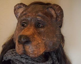 Lucy bear mask, bear costume handmade paper mache animal mask Halloween costume