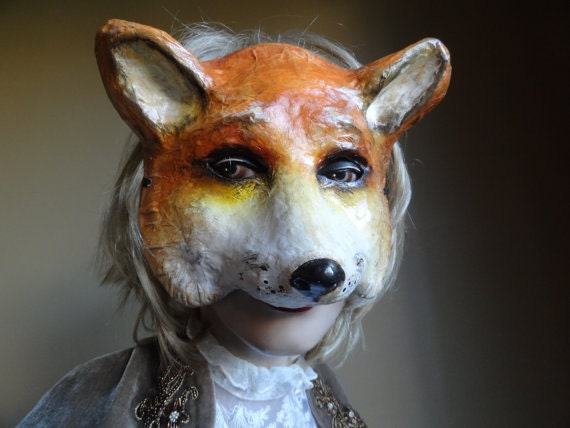 FREE SHIPPING The Dark Fox Mask Handmade Fancy Dress Animal Mask Papier MachePaper Mache Halloween Party Mask