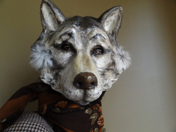 Paper mache wolf head hat or wall mounted decor | Etsy | 427x570