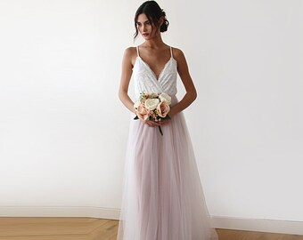 Lace straps wrap tulle maxi dress, Fairy ivory & pink tulle wedding gown, two colors dress 1185