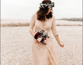 SALE Boho lace dress, pink blush wrap dress 1124