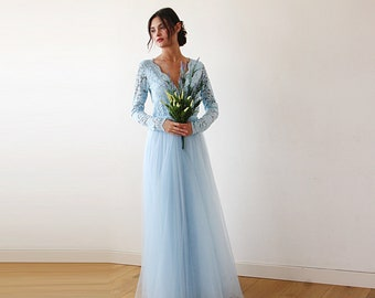 Long Sleeves Maxi Dress Light Blue tulle and lace , Tulle and lace Light Blue dress 1125