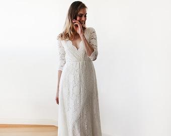 Bestseller Ivory Wrap lace maxi wedding dress #1124