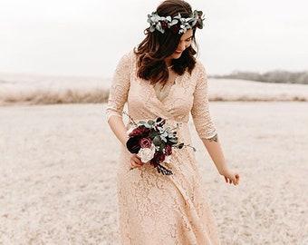 Boho pink blush lace wrap dress #1124