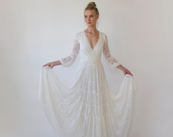 Gipsy layered Boho Skirt, Maxi lace wedding dress, Wrap neckline, Puffy bracelet sleeves #1365