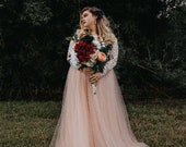 SALE Curve & Plus size Blush Wedding Dress with  Off-The-Shoulder Lace and Tulle,  Blush  Wedding Dress 1162