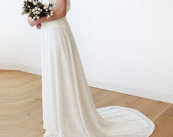 Maxi lace bridal skirt with long train, Ivory Lace skirt , Bridal lace skirt with train 3026