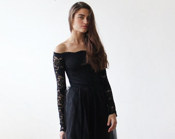Black Off-The-Shoulder Lace and Tulle gown, Black lace maxi dress 1134