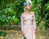 SALE Pink Wedding Dress, Off-the-shoulder Wedding Dress, Floral Lace Wedding Dress, Long Sleeve Wedding Dress, Train Wedding Dress 1148