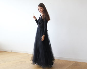 6f6e78d9b2 Black maxi length tulle gown with long sleeves