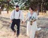 SALE Curve & Plus size Sleeves lace wedding dress, Three-quarters sleeves Ivory boho wedding dress 1124