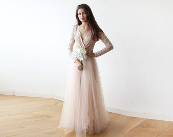 Sale Long Sleeves Engagement Dress Blush Tulle And Lace Etsy