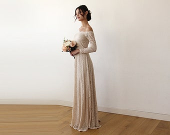 70402ff65bb1 Champagne Wedding Gown Off-The-Shoulder Floral Lace Long Sleeve Maxi, Gold Wedding  Dress Floral Lace Medium Long Sleeve 1119