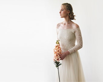 05dec165517ca Champagne Off-The-Shoulder Wedding Lace and Tulle Train, Gold Wedding Dress  with Lace and Tulle Train 1162