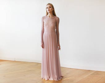 80ea828191f Blush Pink Chiffon Round Neckline Gown With Long Sleeves 1102