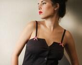 Black short dress with buttons, Short black dress 1011
