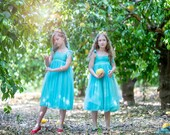Princess dress with bow at back ,Turquoise fancy dress, Flower girl mint dress 5006