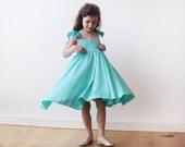 SALE Mint -Turquoise girls butterfly dress 5003