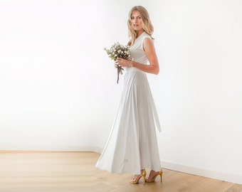 Ivory Wrap Wedding Gown Maxi Dress With Wide Skirt Minimal 1058