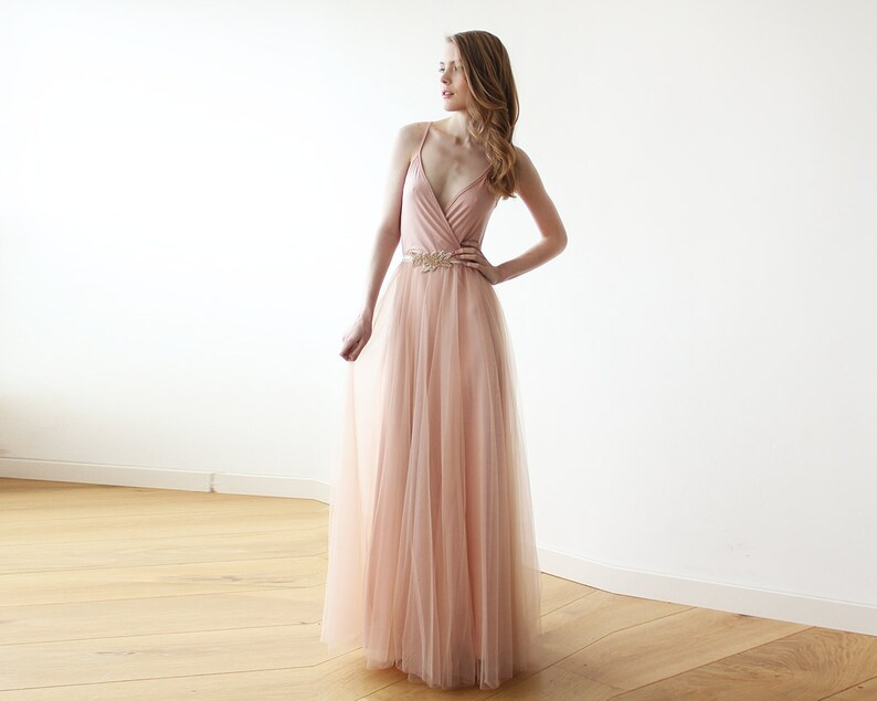 81b815ec658 Bridesmaids Pink Dress tulle maxi Bridesmaids pink gown