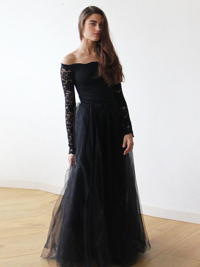 3e9022c4ec Black Off-The-Shoulder Lace and Tulle gown Black lace maxi