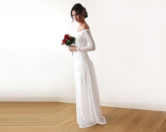 Boho bridal dress Lace Maxi Wedding dress Vintage Style | Etsy
