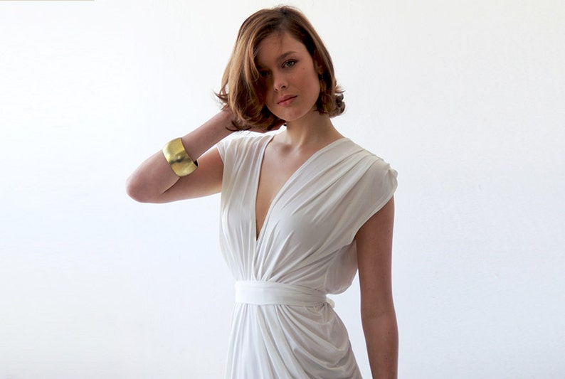 Wedding Rehearsal Dress.White Wedding Rehearsal Dress Cocktail Wedding Party Dress Short Sleeves Bridal Dress 1008