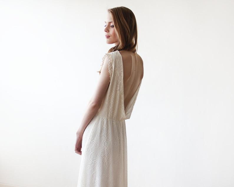 30e71b94bda Sans manches Ivoire dos nu dentelle maxi robe de mariée robe