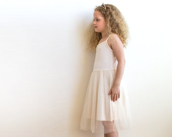 Champagne ballerina tulle dress, Girls party dress,Champagne flower girl dress 5001