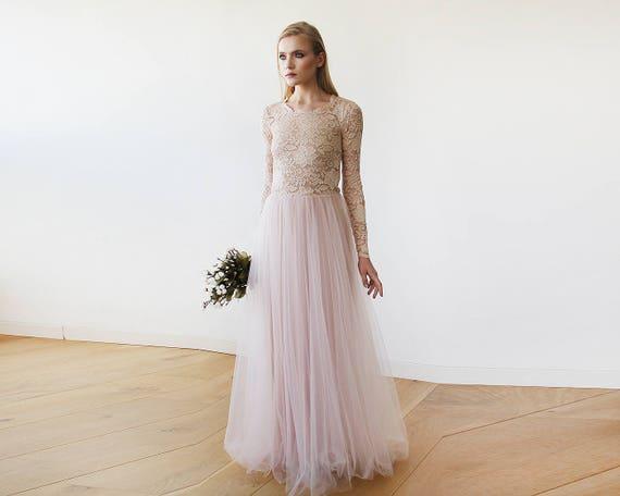 Brautkleider äRmel Spitze | Rosa Blush Brautkleid Runden Ausschnitt Lange Armel Schiere Etsy