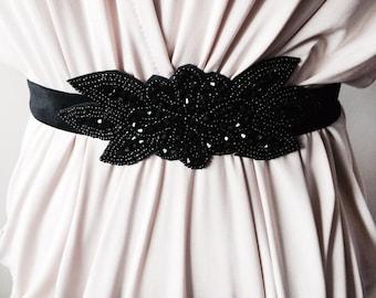 Sparkling Black beaded Sash 4003