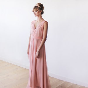 Maxi deep V-neck blush-pink dress Blush-Pink minimalist maxi dress 1093