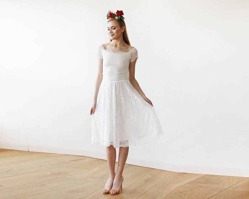 880e0c0254 Ivory Bridesmaids Off-The-Shoulder Short Sleeves Lace Midi