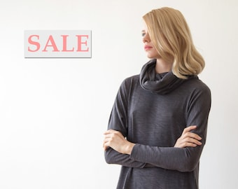 Roll-neck short knit gray dress with long sleeves, Casual daily winter grey dress 1040