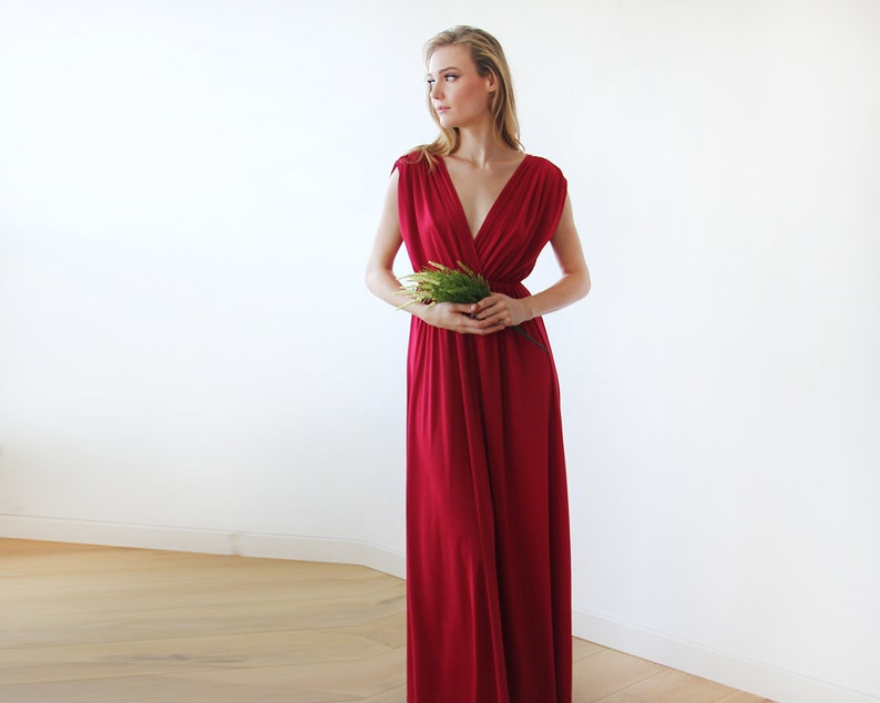 4f2e390ecbf Bordeaux maxi floor length dress Bridesmaids red long dress