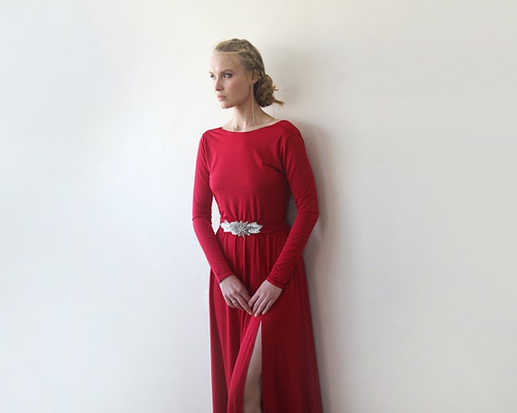 cheap for discount choose latest save up to 60% Deep Red Open Back Maxi Dress, Backless Bridesmaids Dress With A Slit, Long  Sleeves Red Dress 1100