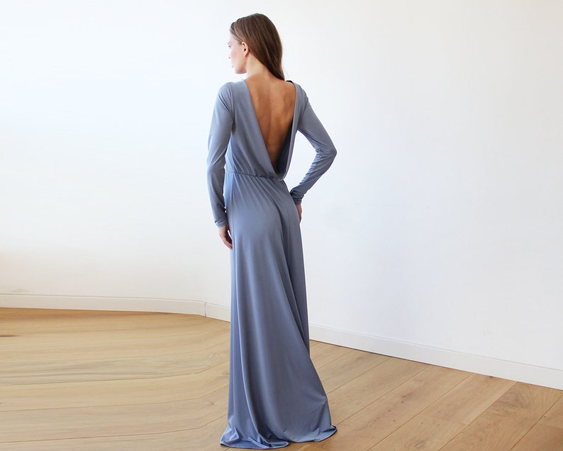 d6073dbedee Open back maxi Dusty blue dress with long sleeves Backless