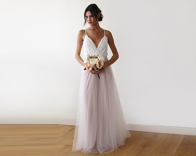 a92755565d58c Ivory and Blush Tulle Wedding Dress lace and Tulle Maxi