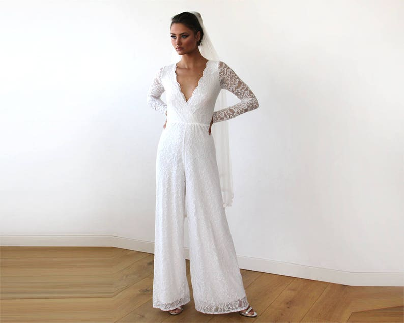 029c55a1e04e Ivory Long Sleeves Wedding Jumpsuit Plunge Front Wide Leg