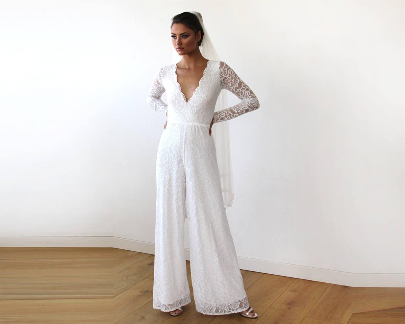 Ivory Long Sleeves Wedding Jumpsuit Plunge Front Wide Leg