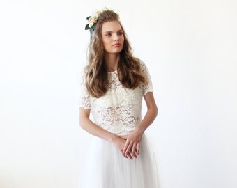 Bridal Lace Ivory short sleeves top , Ivory bridal lace top 2037.