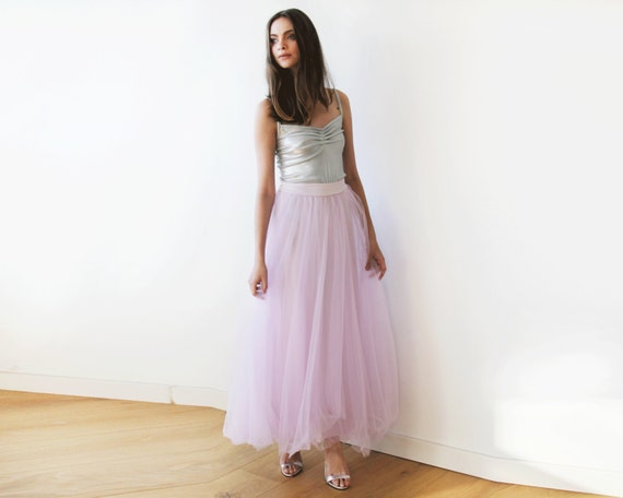 c7738588a4 Lilac tulle maxi skirt Long bridesmaids tulle skirt Maxi | Etsy