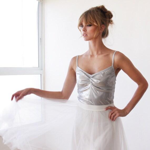 Tulle midi bridal ivory skirt, Tulle rehearsal skirt 3006